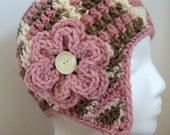 Ready To Ship Crochet Earflap Baby Girl Hat in Brown, Pink and Cream  6 - 12 Months - Pink Baby Girl Earflap Hat