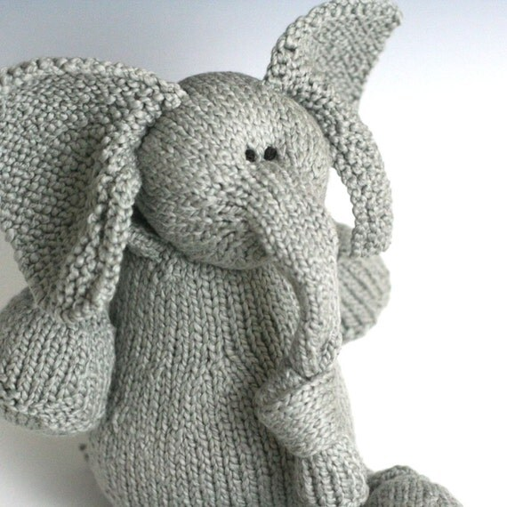 "Silverbell Elephant - Organic Cotton Hand Knit Large Stuffed Pachyderm, 13.5"" Tall"