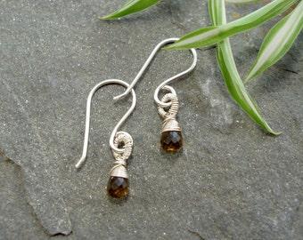 Droplet Earrings - Sterling silver and Beer Quartz - subtle drop silver earrings