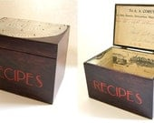 Recipe Box -- Handpainted, Embellished with Vintage Pie Tin