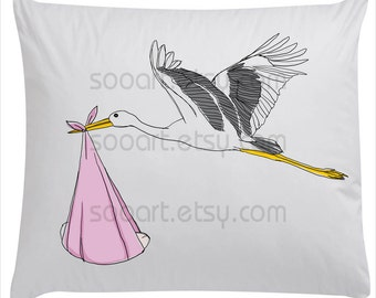 Stork with baby  pink -Digital Image Sheet -SooArt Original Illustrate Drawing  A4 Print on Pillows, t-shirts, scrapbook, lampshades  ETC.