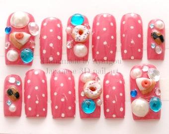 Nails, deco nails, kawaii nails, 3D nails, Japanese nail, donut, pie, cake, cookie, polka dot, pink, sweet lolita, fake sweets, cute nail,