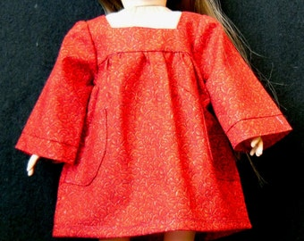 18 in Doll Long Sleeve Dress -  Red Print