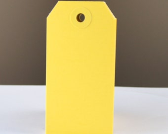 25 Yellow Manilla Medium (size 3) Parcel Shipping Tags . 3.75 x 1.875