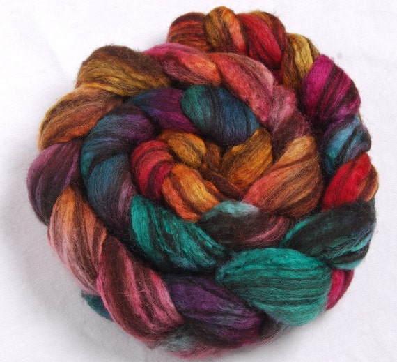 HUMBUG BFL Hand painted - 3 times blended 100g -  roving, combed top fibre fiber