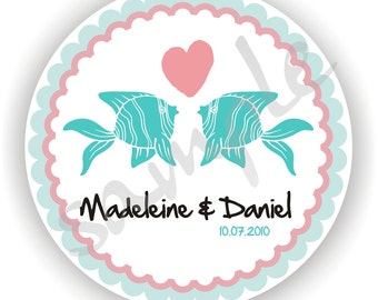 Personalized circle Stickers - 5 sheets - Monogram - Favor - Weddings - Bridal Shower - Baby Shower - Birthday - Thank You -Address Labels