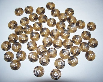 50 Variegated, Brown Buttons, Lot  2041 (Free US Shipping)