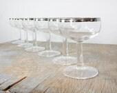 silver champagne glasses / dorothy thorpe champagne mad men glasses / mid century 1960s barware