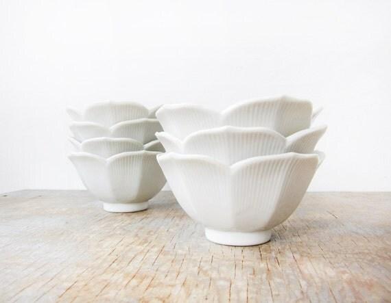 vintage white lotus bowls / mid century decor / set of seven