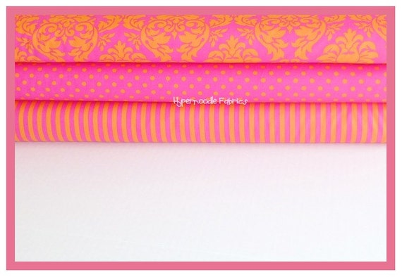 Michael Miller Fabric Trio Sorbet Dandy Damask, Dumb Dot and Clown Stripe 3 yards