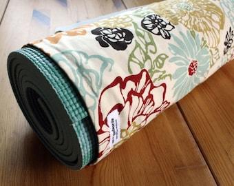 Handmade Yoga Bag Pilates Mat Bag in Mod Earthtones Floral