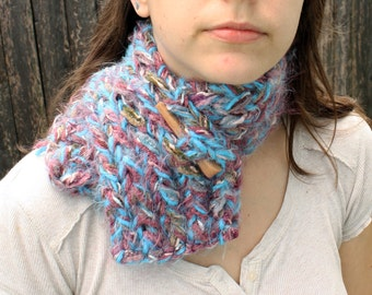 Womens Knit Scarf Blue, Mauve, and Olive Neckwarmer with Wooden Toggle Button Soft Fuzzy Scarf READY to SHIP