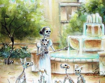 Day of the Dead, 'Mis Perros' signed print by artist Heather Calderon