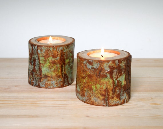 Eco Friendly Candle Holders Tea Light Organic Wood Distressed Decor Organic Spiral Willow Candle Holder Set