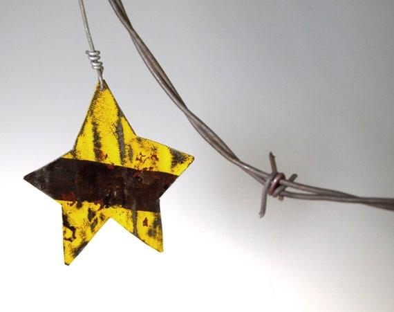 Vintage Tin Christmas Tree Ornaments : Yellow metal star vintage tin christmas tree ornament