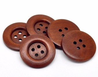 """Large reddish brown button - 3 wooden buttons 40mm (1 5/8"""")  (BB141)"""