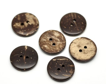 12 Brown Coconut Shell Buttons 18mm - Natural and Eco Friendly  (BC603A)