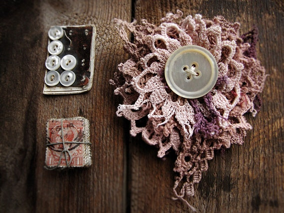 dusted moon - ragged doily brooch - vintage hand dyed crochet - antique button