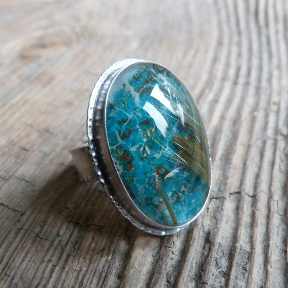 Chrysocolla, Rutilated Quartz Ring in Oxidized Sterling Silver - Ruffle Ring in Parrot