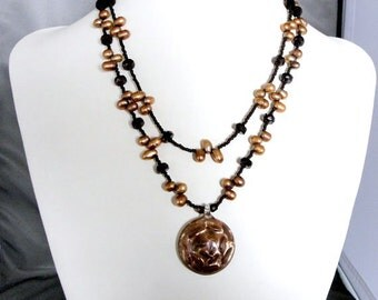 SALE Dark Bronze Freshwater Pearl Necklace, Copper Gold Double Strand Necklace Unique Handmade Jewelry Gift Ideas for Women by m2designs