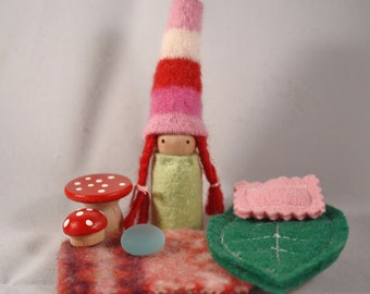 Little Candy Cane Gnome Playset in a Perfectly Pink Bag