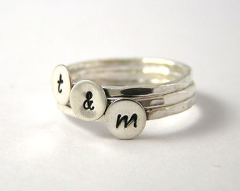 Stack Rings, Custom Initial Stack Rings, Sterling Silver Rings, Personalized Rings, Set Of Three