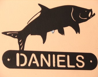 Tarpon Fish ADDRESS / NAME  PLAQUE Sign Home Decor Wall House Metal Ocean Personalized
