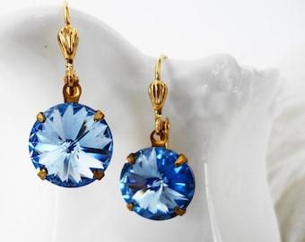 FREE Shipping Light Sapphire Swarovski Ravioli Crystal Earrings Wedding Bridal Bridesmaids Evening day wear