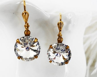 FREE Shipping Estate Earrings VIntage Style Crystal Clear Swarovski Ravioli Crystal old hollywood retro Austrian  Bridal GIft