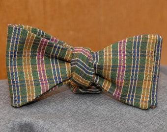 Multicolored Homespun Check  Bow Tie