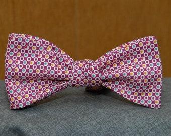 Multicolored Dots on Fuschia  Bow Tie