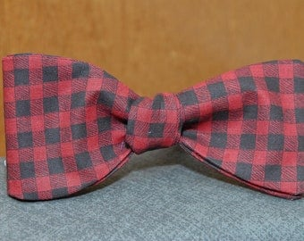 Red and Black Gingham  Bow Tie