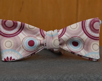 Burgundy, Blue and Pink Candy  Bow Tie