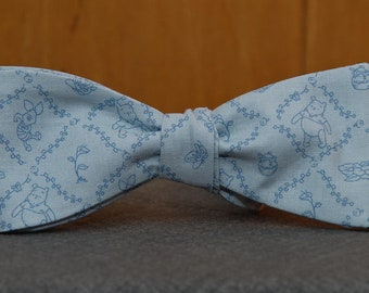 Piglet and Pooh on Blue  Bow Tie