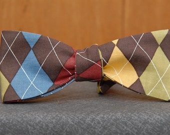 Brown, Red, Blue, Green, Yellow Argyle Print  Bow Tie