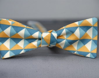 Green, Yellow, Blue Triangles  Bow Tie