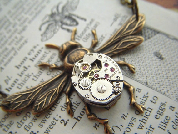Steampunk Necklace Rustic Brass Bee Jewelry Tiny Vintage Watch Movement Gothic Victorian Antiqued Primitive Weathered
