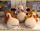 Primitive TURKEY Bowl Fillers Fall Thanksgiving Tucks Ornies