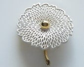 Vintage White Enamel Monet Flower Statement Pin Brooch