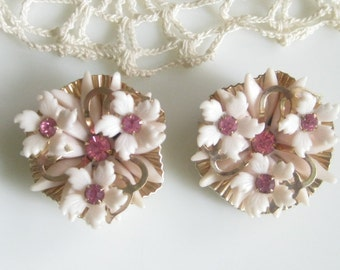Beautiful Layered Early Plastic Flower Earrings with Pink Rhinestones