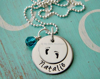 Personalized Hand Stamped Baby Foot Prints, Swarovski Birthstone and Name Necklace