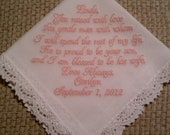 Mother of the Groom Handkerchief/Hankie Wedding Customized by PamsEmbroidery Gift Envelope Included