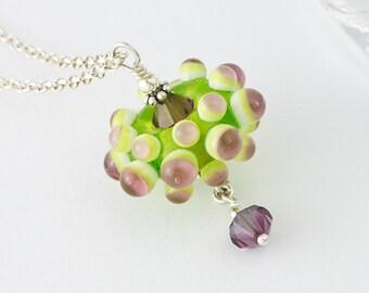 Green Flower Lampwork Necklace