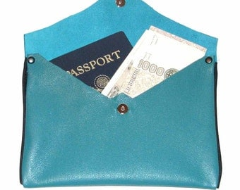 Teal Blue-Green Lambskin Everything Pouch Jewelry Pouch Travel Case Receipt Holder Bag Organizer