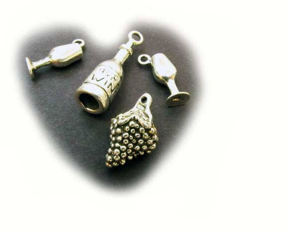 Sterling Silver Charms Charm  Wine  Grapes Bottle Glass charms