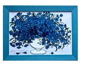 Light blue and dark blue Cornflowers Centaurea - stained glass painting - Made to order