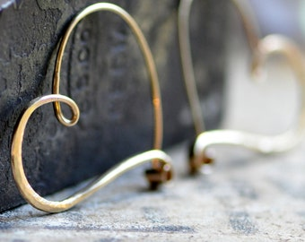 14k gold heart hoop earrings, solid 14k gold hoops, medium to large heart hoops, in stock ready to go