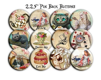 Alice in Wonderland Fantasy 2.25 Inch Party Favors Set of 12 for Birthdays, Showers, Pin Back Buttons, Mirrors, Magnets, or Key Chains