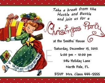 Retro Christmas Party Invitation Digital Printable Personalized C-371