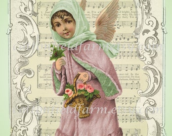 Victorian Angel on Music Cottage Pinks and Greens Digital Sheet C-395 Large 5 X 7 for Pillows, Aprons, Totes, Stockings, ECS